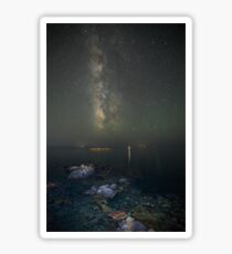 Milky way at a rocky sea coast in Syros island, Greece Sticker