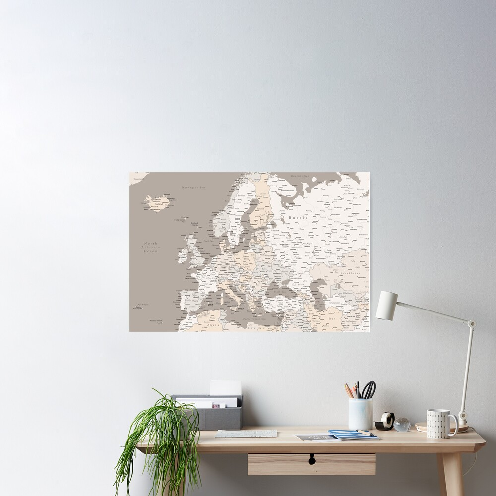Light brown map of Europe with cities Poster
