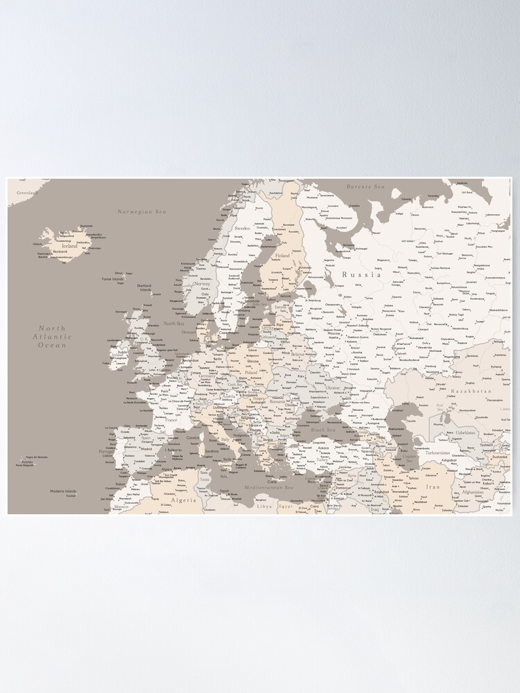 Alternate view of Light brown map of Europe with cities Poster