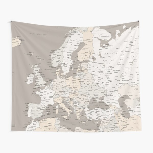 Light brown map of Europe with cities Tapestry