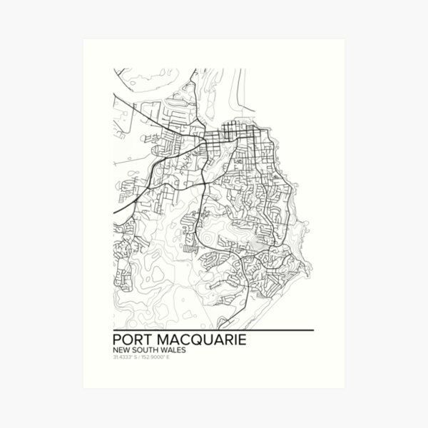 Port Macquarie map poster print wall art, New South Wales gift printable, Home and Nursery, Modern map decor for office, Map Art, Map Gifts Art Print