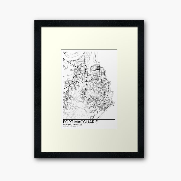 Port Macquarie map poster print wall art, New South Wales gift printable, Home and Nursery, Modern map decor for office, Map Art, Map Gifts Framed Art Print