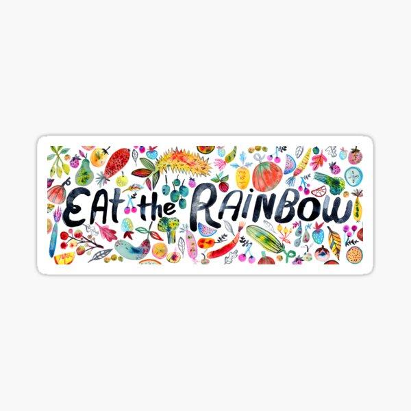 EAT THE RAINBOW watercolor art Sticker