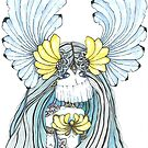 Watercolor and ink Greek Goddess by Ibubblesart