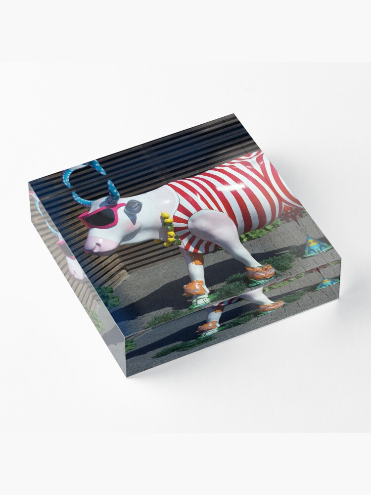 Alternate view of Painted Cow on Holiday - at Floriade Acrylic Block