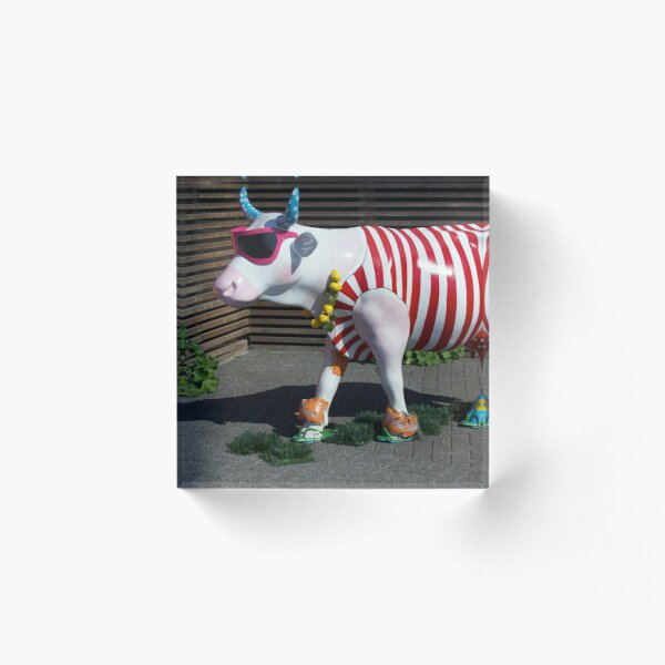 Painted Cow on Holiday - at Floriade Acrylic Block