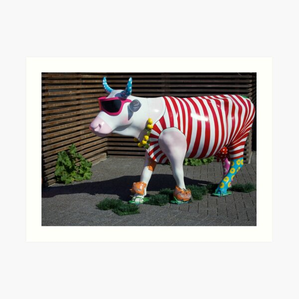 Painted Cow on Holiday - at Floriade Art Print
