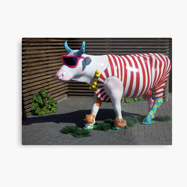 Painted Cow on Holiday - at Floriade Metal Print