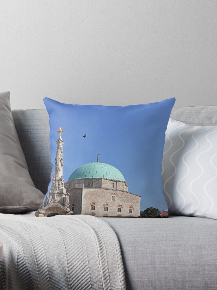 'Pasha Qasim Mosque Pecs Hungary ' Throw Pillow by goceris
