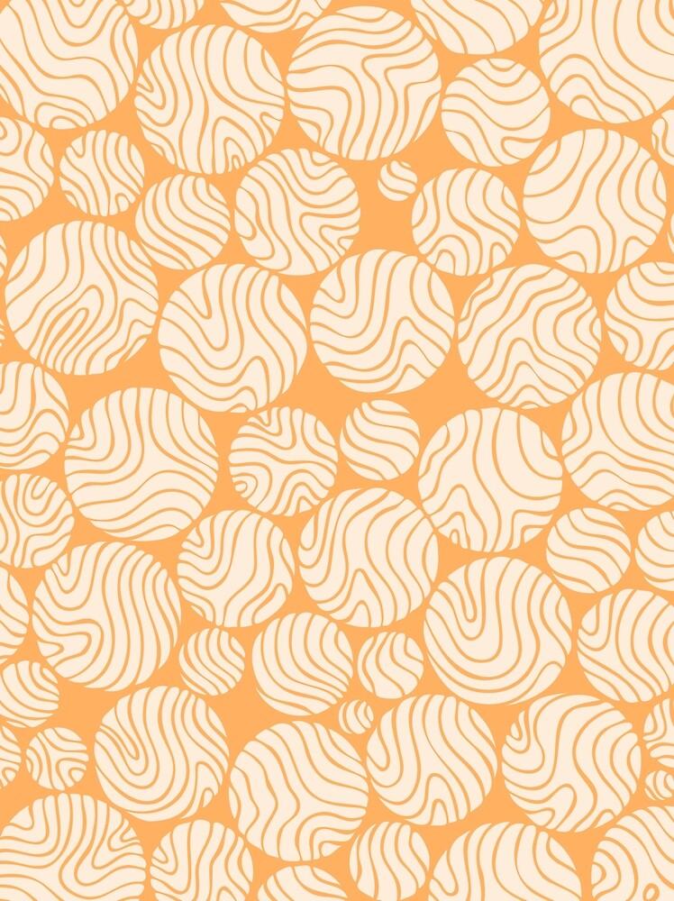 Cotton Ball Flower Pattern Jolly Orange Color Design by plantita