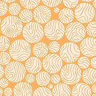Cotton Ball Flower Pattern Jolly Orange Color Design by plantita