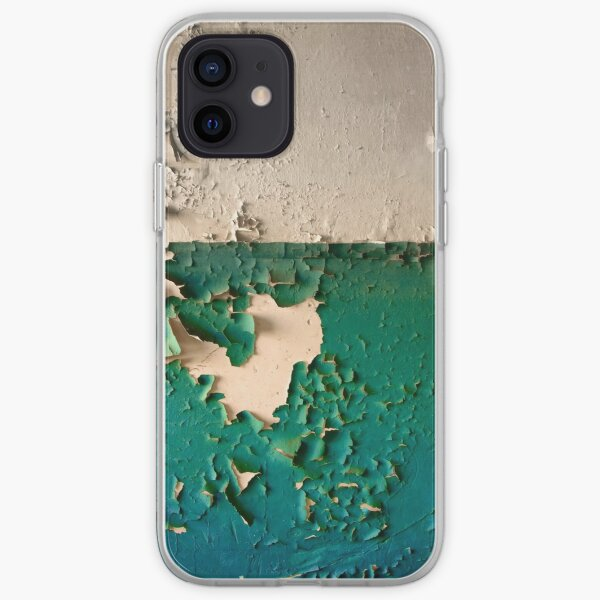 Wall with Peeling Green Blue and White Paint   iPhone Soft Case