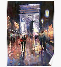 Paris Miting Point Arc de Triomphie Poster
