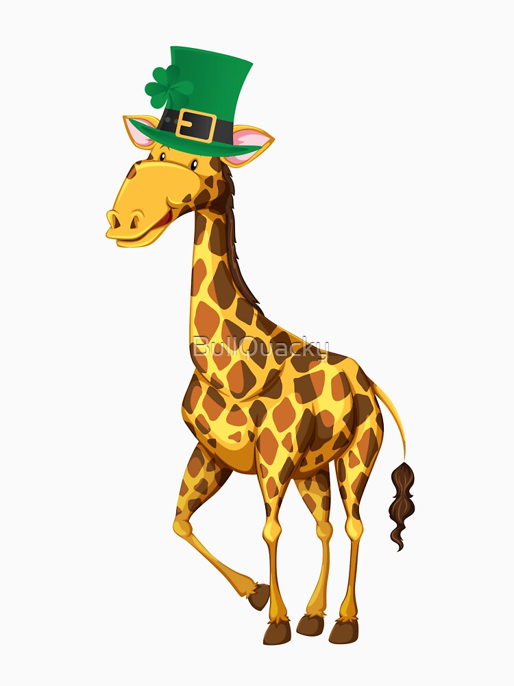 Cute Giraffe Wearing a Lucky Leprechaun Hat 4 Leaf Clover - Funny Cute Cartoon Animal Illustration Drawing Saint Patrick's Day Holiday Great Gift by BullQuacky