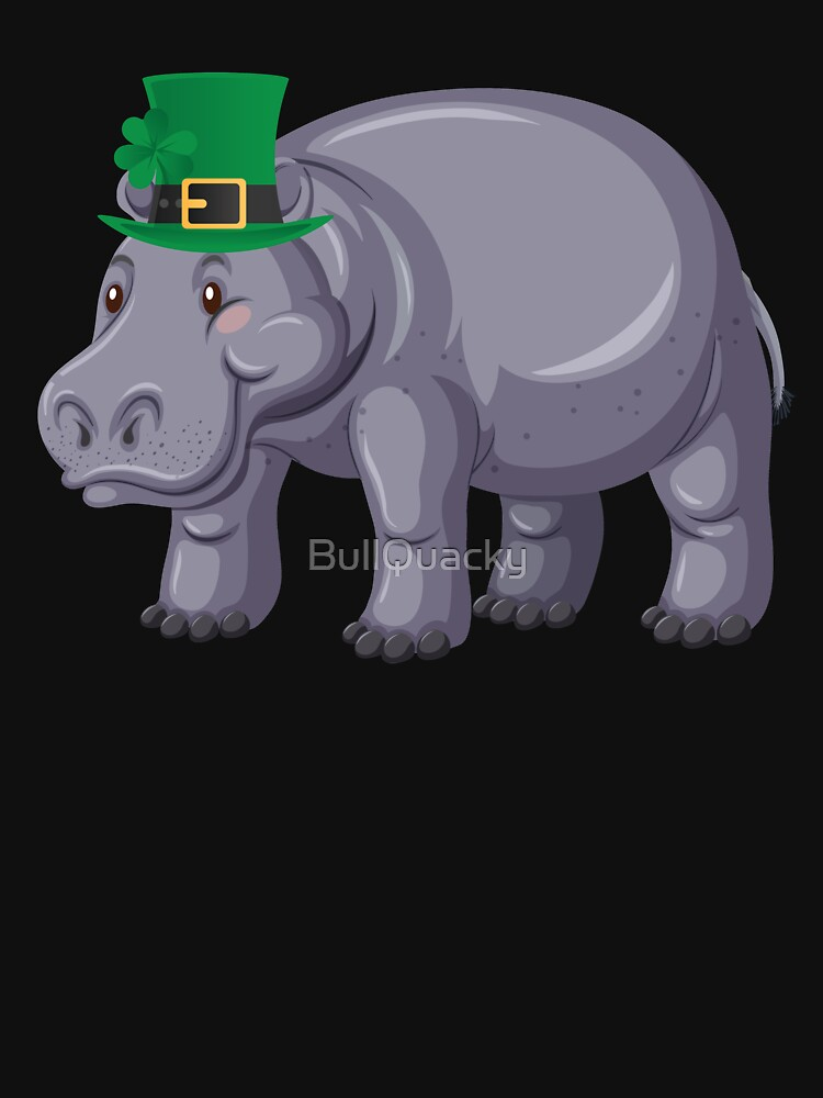 Cute Hippo Hippopotamus Wearing a Lucky Leprechaun Hat 4 Leaf Clover - Funny Cute Cartoon Animal Illustration Drawing Saint Patrick's Day Holiday Great Gift by BullQuacky
