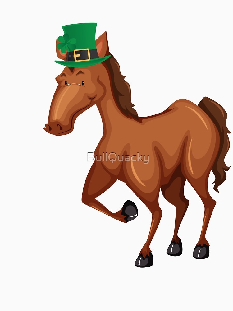 Cute Horse Wearing a Lucky Leprechaun Hat 4 Leaf Clover - Funny Cute Cartoon Animal Illustration Drawing Saint Patrick's Day Holiday Great Gift by BullQuacky