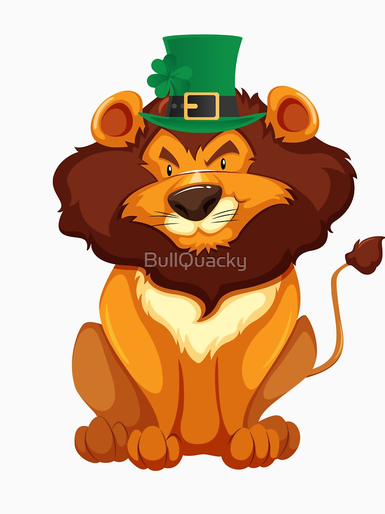 Cute Lion Wearing a Lucky Leprechaun Hat 4 Leaf Clover - Funny Cute Cartoon Animal Illustration Drawing Saint Patrick's Day Holiday Great Gift by BullQuacky