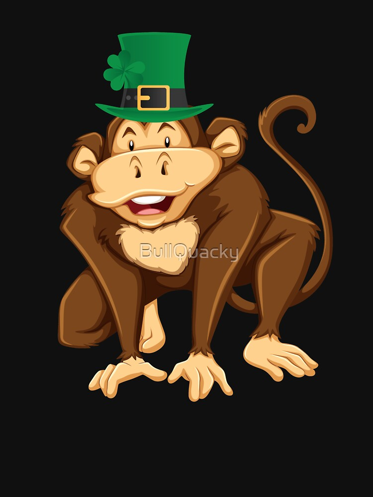 Cute Monkey Wearing a Lucky Leprechaun Hat 4 Leaf Clover - Funny Cute Cartoon Animal Illustration Drawing Saint Patrick's Day Holiday Great Gift by BullQuacky