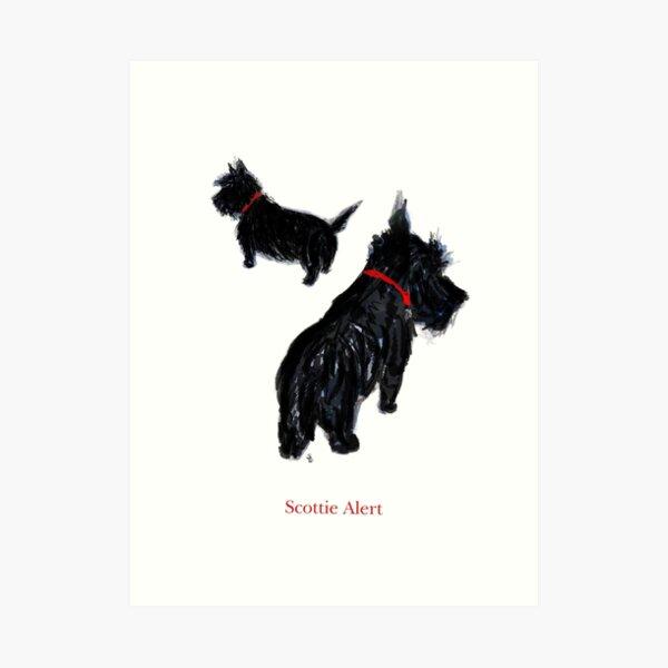 """Two Scottie Dogs in """"Scottie Alert!"""" Art Print"""
