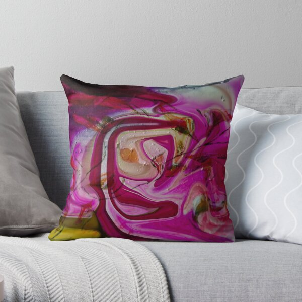 swirling pink abstract shapes Throw Pillow