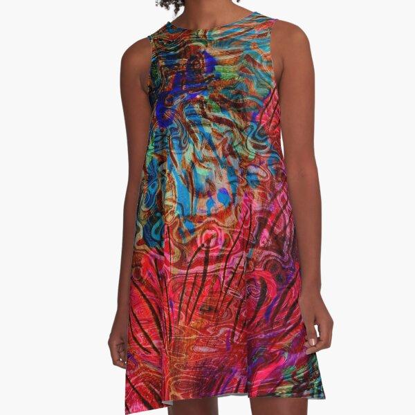 underwater blue flower art abstract A-Line Dress