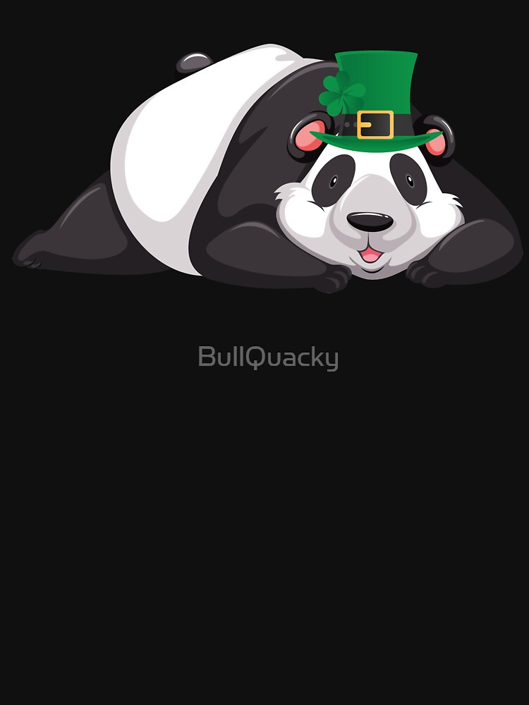 Cute Panda Bear Wearing a Lucky Leprechaun Hat 4 Leaf Clover - Funny Cute Cartoon Animal Illustration Drawing Saint Patrick's Day Holiday Great Gift by BullQuacky