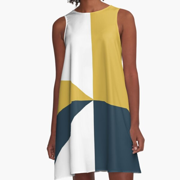 Angled Color Block in Navy Blue, Light Mustard Yellow, and White A-Line Dress