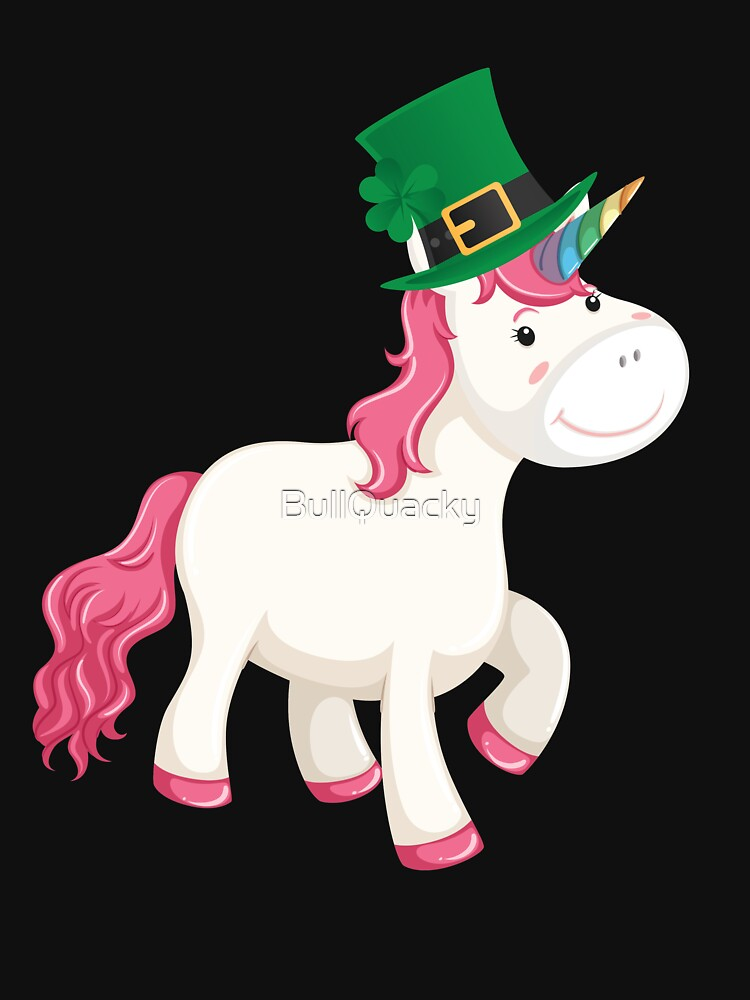 Cute Unicorn Wearing a Lucky Leprechaun Hat 4 Leaf Clover - Funny Cute Cartoon Animal Illustration Drawing Saint Patrick's Day Holiday Great Gift by BullQuacky