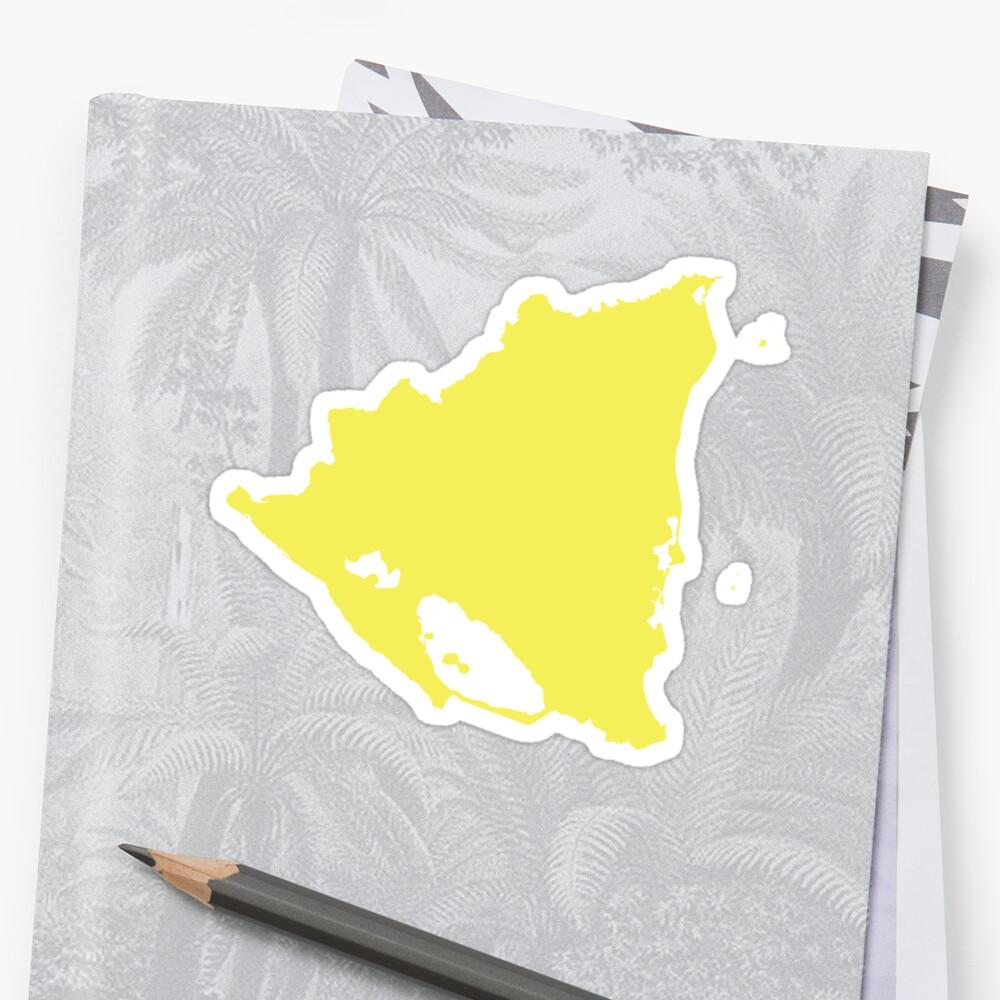 Nicaragua-Liebe in Zitronengelb Sticker