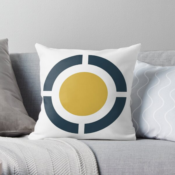 Globus: circular design in light mustard yellow, navy blue, and white Throw Pillow