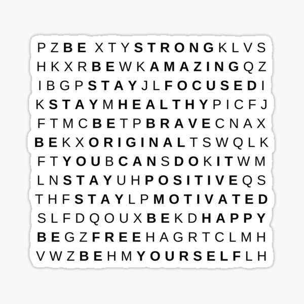 Be Yourself Word Puzzle by Silvana Arias Sticker