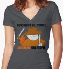 Killer Squirrel Women's Fitted V-Neck T-Shirt