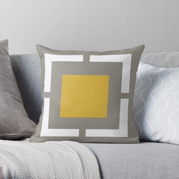 Squared: Minimalist Geometric Design in Light Mustard Yellow, Grey, and White Throw Pillow