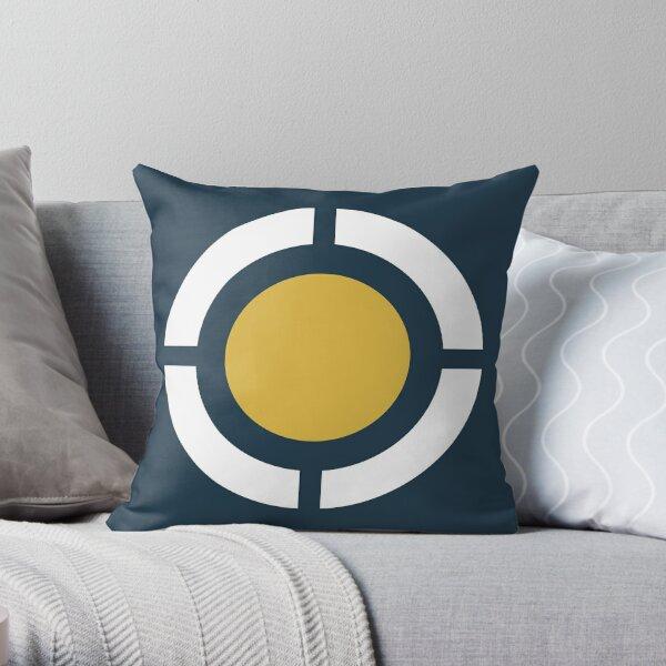 Globus: Modern Minimalist Geometric Design in Light Mustard Yellow, Navy Blue, and White Throw Pillow