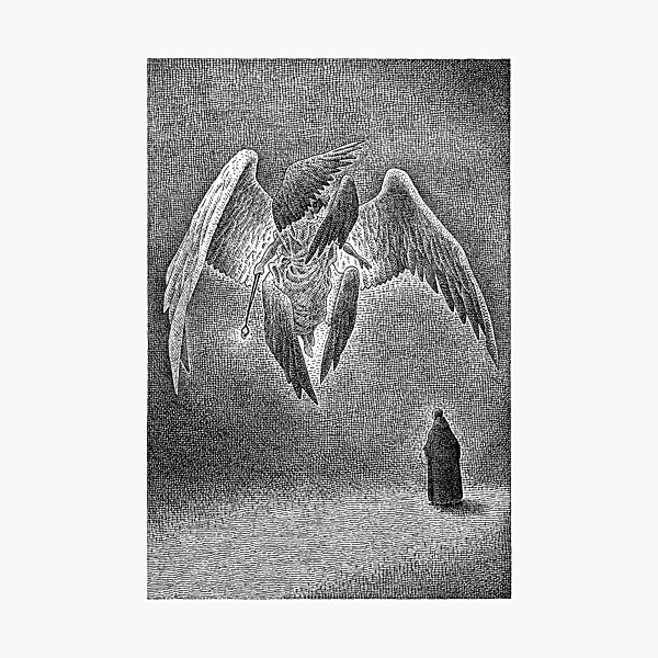Photographic painting print Angel on the orb 30x21cm