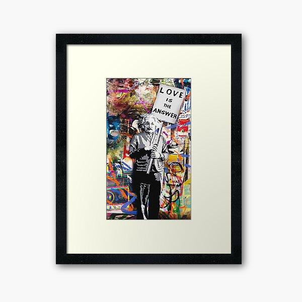 Banksy Albert Einstein Love Is The Answer Graffiti Vibe Framed Art Print