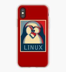 Linux tux penguin obama poster logo iPhone Case