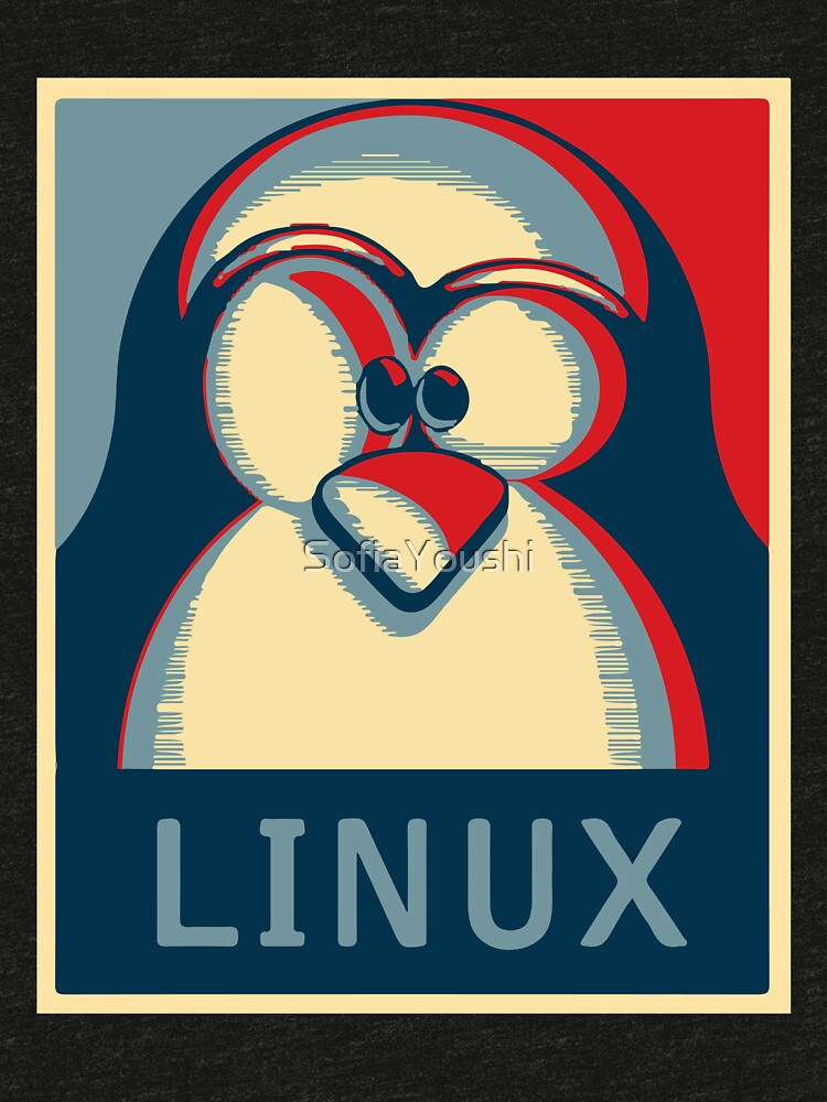 Linux tux penguin obama poster logo by SofiaYoushi