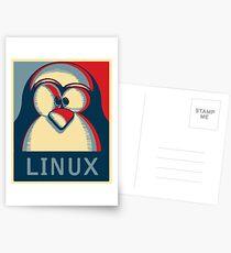 Linux tux penguin obama poster logo Postcards