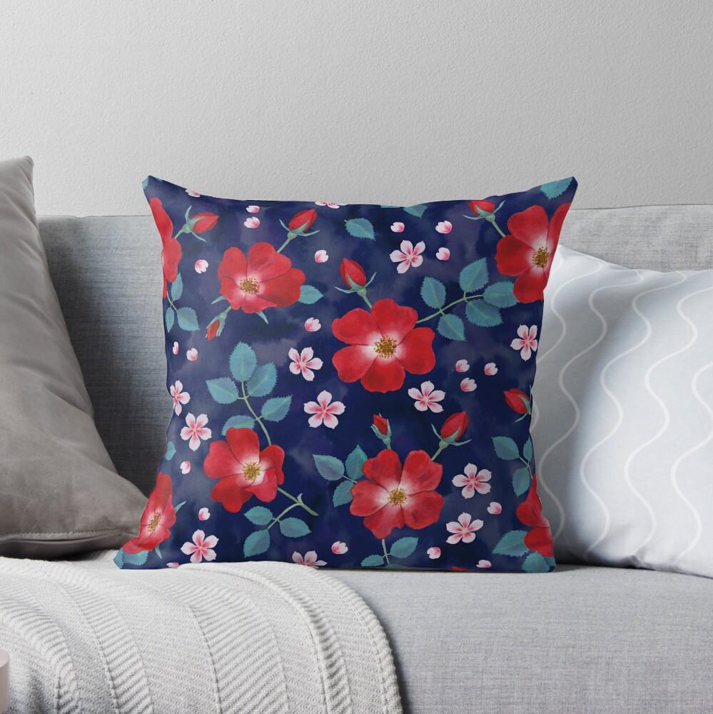 Moody Wild Roses Throw Pillow