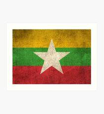 Old and Worn Distressed Vintage Flag of Myanmar Art Print