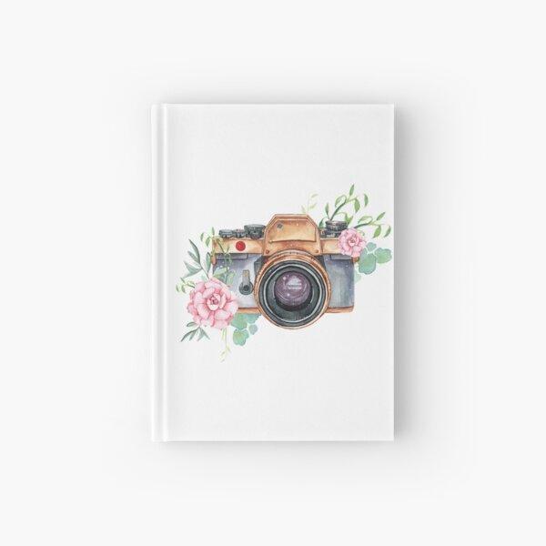 Watercolor camera, watercolor flowers,  photographer gift, photography, camera, flowers Hardcover Journal