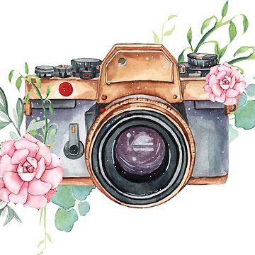 Cámara de acuarela, flores de acuarela, regalo de fotógrafo, fotografía, cámara, flores de SouthPrints