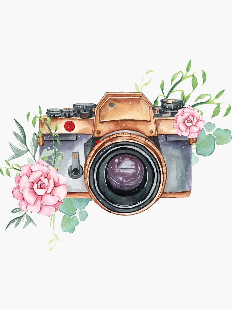 Watercolor camera, watercolor flowers,  photographer gift, photography, camera, flowers by SouthPrints
