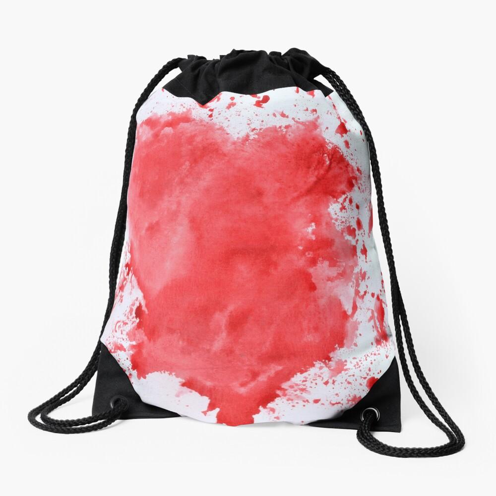 Heart Bleeds Red Drawstring Bag Front