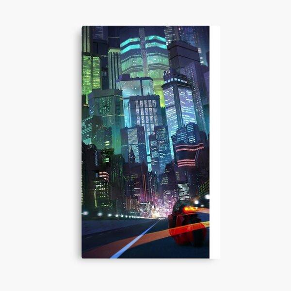 Mid-century modern art print skyline cityscape mcm googie retro atomic fuchsia pink turquoise