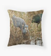 Tri-Color Heron 2 Throw Pillow