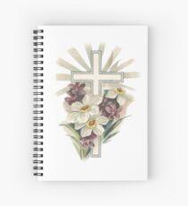 Ostern-Kreuz und Frühlingsblumen Spiralblock