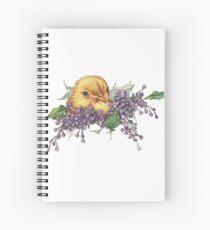 Ostern Küken und lila Flieder Spiralblock