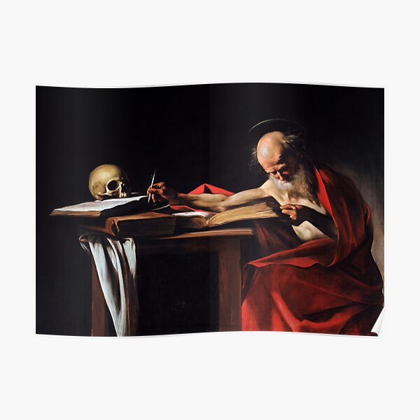 Saint Jerome Writing by Caravaggio (1606) Poster